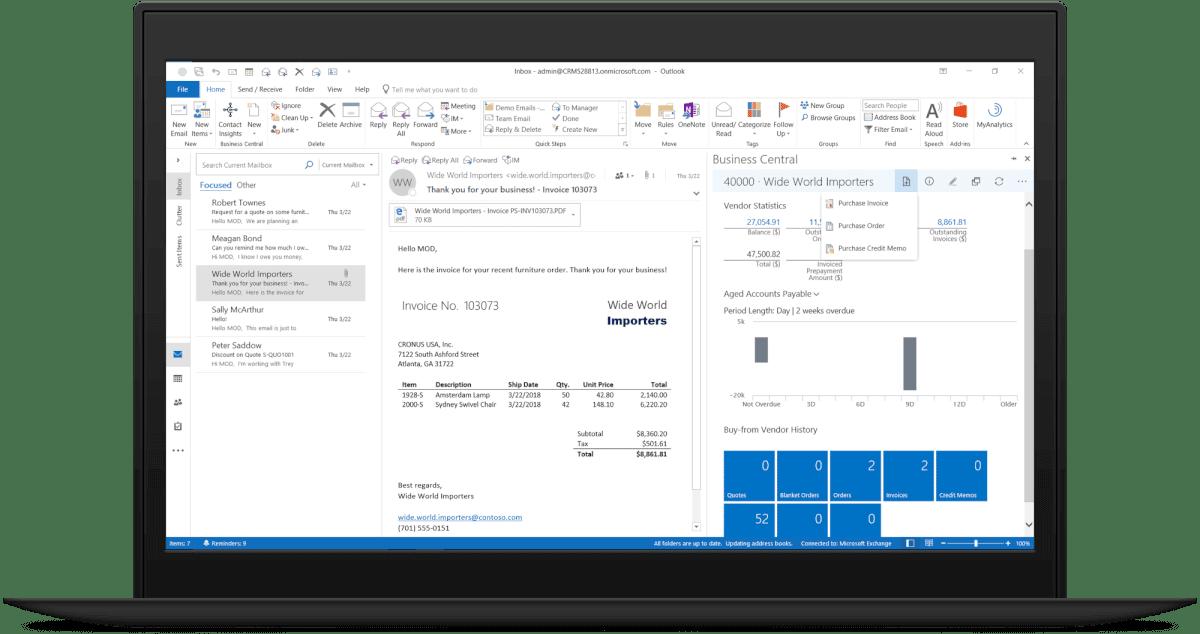 Dynamics 365 Business Central screenshot Outlook
